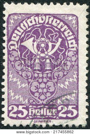 AUSTRIA - CIRCA 1920: A stamp printed in Austria is depicted postal horn circa 1920