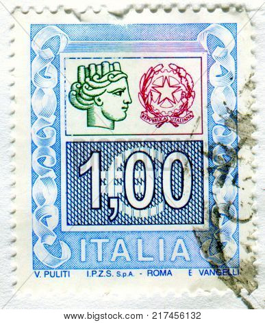GOMEL, BELARUS, 4 DECEMBER 2017, Stamp printed in Italy shows image of the Republica Italiana, circa 2017.