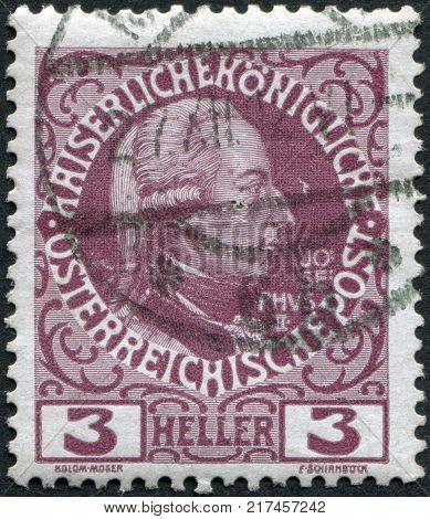 AUSTRIA - CIRCA 1908: A stamp printed in Austria shows Joseph II Holy Roman Emperor by Jakob Adam circa 1908