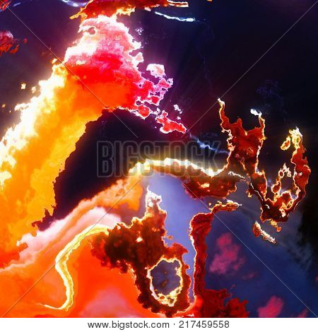 Abstract solar prominences, red flames and gases, background illustration