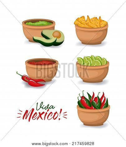 viva mexico colorful poster with bowls of typical mexican food vector illustration