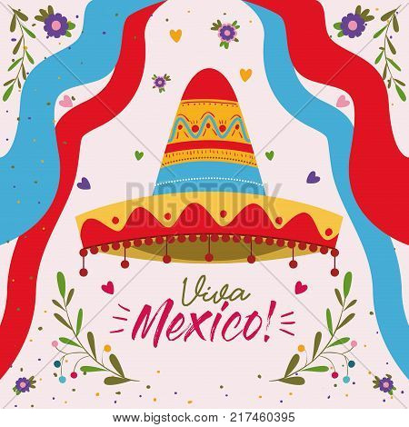 viva mexico colorful poster with mexican hat and decorative ribbons vector illustration