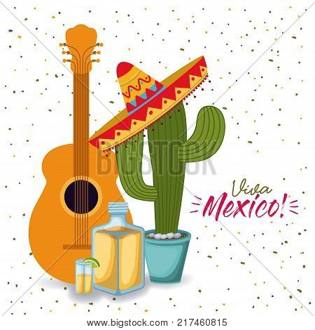 viva mexico colorful poster with guitar tequila and cactus plant with mexican hat vector illustration