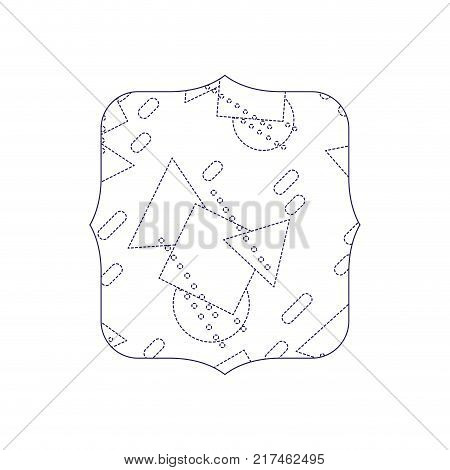 dotted shape quadrate with memphis geometric style background vector illustration