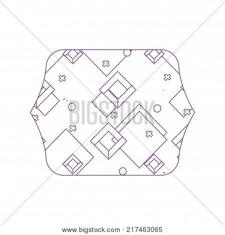 dotty shape quadrate with geometric style graphic background vector illustration