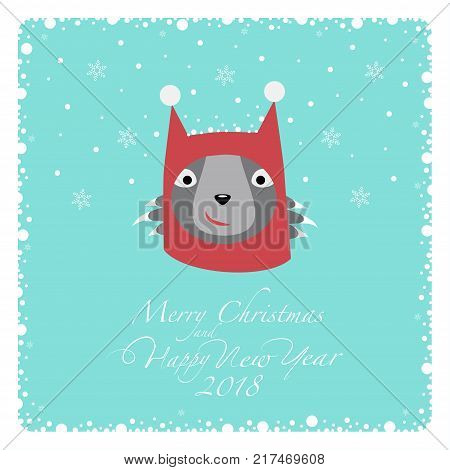 Greeting card. Grey cat in a knitted red hat with white pompons at the ears. From the bottom of the postcard the phrase merry christmas and happy new year and numbers: two, zero, one ,eight.