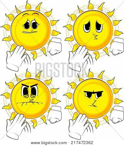 Cartoon sun cooling himself with his hand. Collection with sad faces. Expressions vector set.
