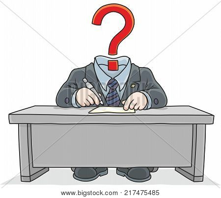Clerk with a question mark instead of his head. A vector illustration of a headless functionary with an interrogation, sitting at the desk and working with documents