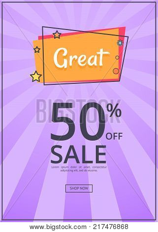 Great sale poster with 50 percent discount off, inscription in square speech bubble on purple background with rays. Best offer propose web banner