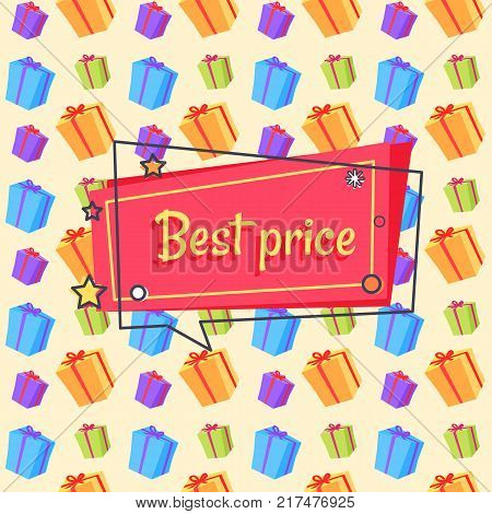 Best price proposition banner in square speech bubble with stars and snowball seamless pattern with presents gift boxes vector illustration