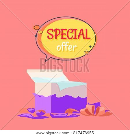 Special offer poster with open gift box in red wrapping paper and red decorative tape vector isolated on pink background, big sale concept