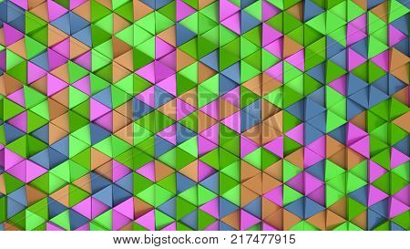 Pattern Of Green, Orange, Purple And Blue Triangle Prisms