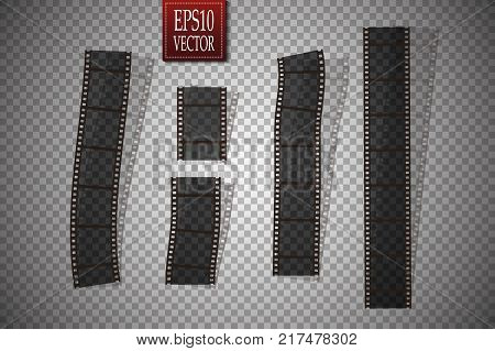 Set of vector film strip isolated on transparent background. Eps 10