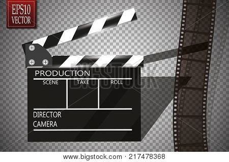 Cinema festival Flyer Or Poster With Movie Reel And Clapper Board. Vector Illustration Of Film Industry. Template For Your Design Eps 10