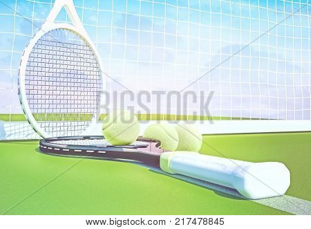 Tennis rackets near a yellow balls on a green court. 3D illustration
