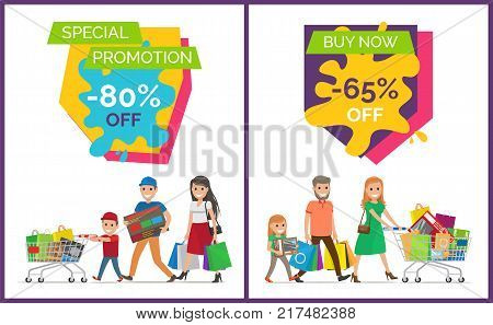 Special promotion -80 and buy now -65 off images with families in process of buying new things, bags and carts on vector illustration