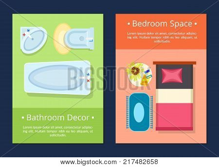 Bathroom decor and bedroom space sample website pages with text and icons of bed and small table, bathtub and sink vector illustration