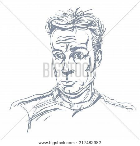 Monochrome vector hand-drawn image surprised young man. Black and white illustration of shocked guy.