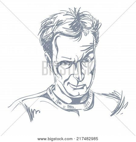 Vector portrait of cheater illustration of good-looking male of Caucasian type. Person emotional face expression. Gambler theme.