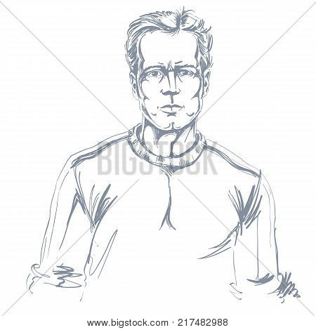 Hand-drawn portrait of white-skin confident calm man face emotions theme illustration. Handsome guy posing on white background.