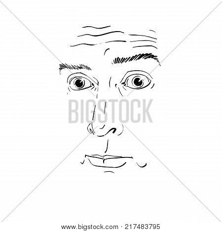 Artistic hand-drawn vector image black and white portrait of blameworthy and regretful guy. Emotions theme illustration visage features.
