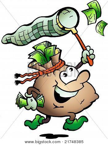 Hand-drawn Vector Illustration Of An Money Sack Hunting Cash