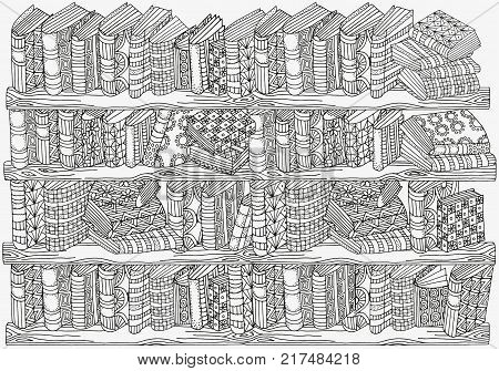 Pattern for coloring book. A4 size. Artistically books, bookshelf, hand-drawn decorative elements in vector. Black and white pattern. Zentangle.