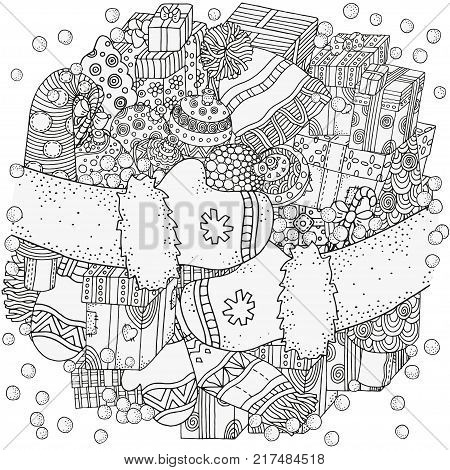 Pattern for coloring book. Winter sketches. Christmas gifts, xmas trees, balls, warm clothes, scarf, hats, mittens, socks. Hand-drawn vector illustration.