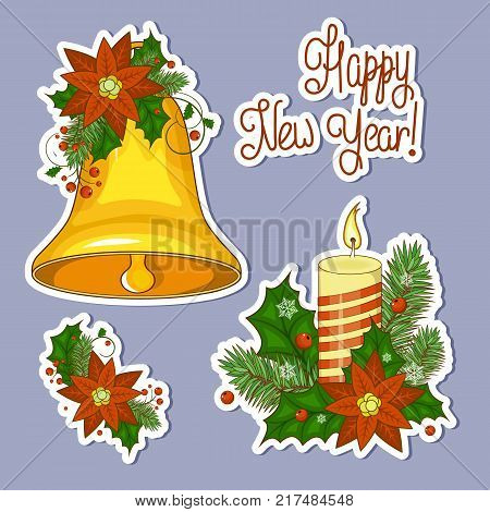 Set of stickers colorful cartoon illustration of Christmas bells. Set of elements for your design. Stock vector. Happy new year and Christmas.