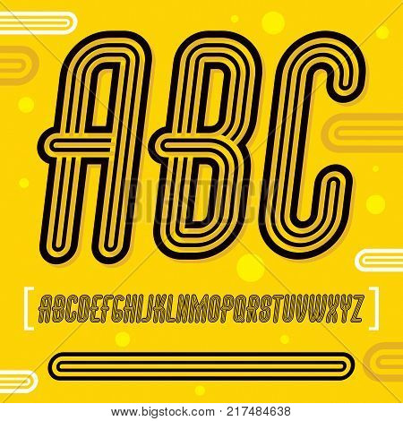 Vector trendy retro uppercase alphabet letters abc collection. Disco italic thin narrow type font script from a to z can be used for logo creation. Created using geometric triple stripes.