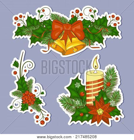Set of stickers colorful cartoon illustration of Christmas bells. Set of elements for your design. Stock vector. Happy new year and Christmas. Red berry Holly.