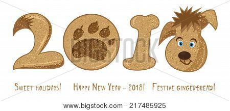 2018 cartoon character dog, chinese zodiac sign Cute icon on white background. Good idea for poster, Happy new year greeting card, decoration gingerbread and christmas cookies. Vector illustration