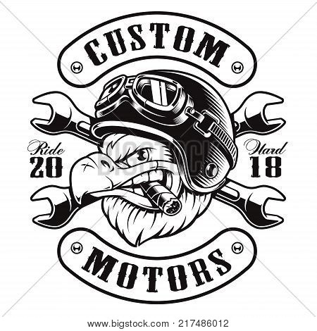 American eagle with cigar. Vector illustration of motorcycle rider with helmet. Shirt graphics (MONOCHROME VERSION) All elements text (curved) are on the separate layer and easy editable.