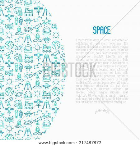 Space concept with thin line icons: rocket, Earth, lunar rover, space station, telescope, alien, meteorite. Modern vector illustration for banner, print media, web page.