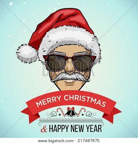 Vector illustration, man models with Santa hats, christmas sale tagline
