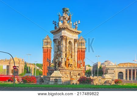 Panorama Square of Spain (Placa De Espanya)in Barcelona - capital of the autonomy of Catalonia. Spain. poster