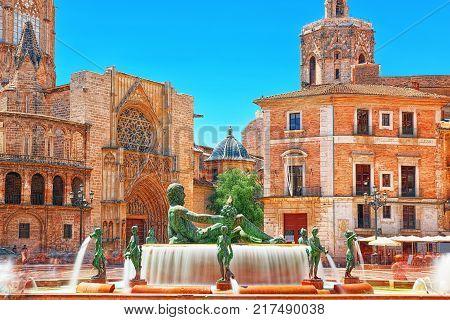 Panorama Towers Venetian And Square Of Spain (placa De Espanya), In Barcelona. Catalonia. Spain.