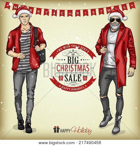 Vector man models with Santa hats, christmas sale tagline