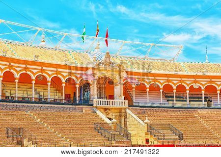 Panorama  View Of Square Of Bulls Royal Maestranza Of Cavalry In Seville. Spain.