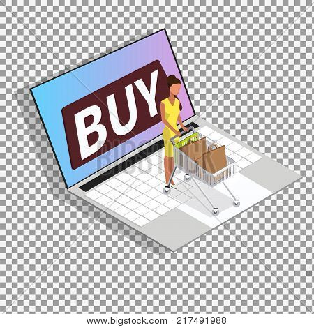 Shopping online isometric vector concept on transparant background. Business illustration. Business infographic elements. -stock vector