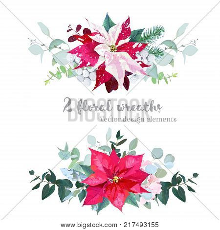Christmas bouquets arranged from red and marbled poinsettia, fir branch, agonis, eucalyptus selection, mix of plants and berries. Happy holiday greenery. Watercolor style set. All elements are isolated