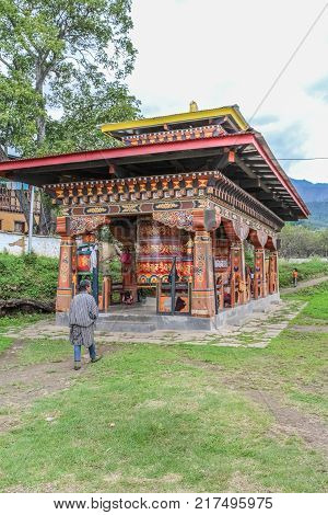Paro, Bhutan - September 17, 2016: Daily Life In The Streets Of Paro City, Bhutan