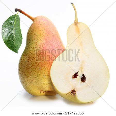 One ripe pear and half of pear with leaf.  Isolated on a white background.