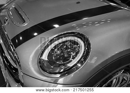 Sankt-Petersburg Russia July 21 2017: Front view of a Mini Cooper S John Cooper Works Edition. Black and white. Photo Taken on Royal Auto Show July 21