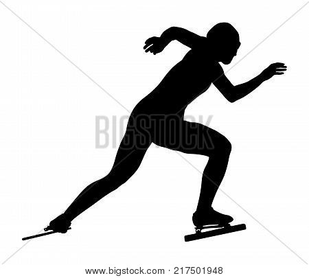 start women athletes speedskater ice-skating black silhouette