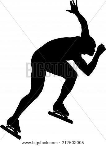 athlete speed skater ice skating racing sport black silhouette