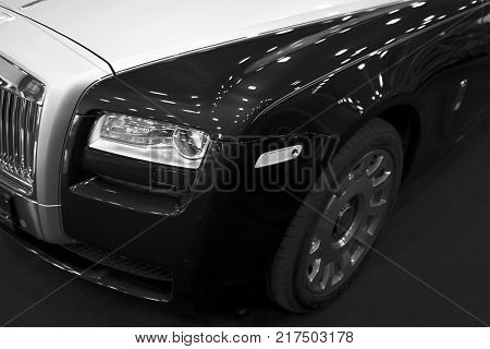 Sankt-Petersburg Russia July 21 2017: Front view of a Luxury car Rolls-Royce Phantom. Rolls-Royce Motor Cars Limited global manufacturer of luxury cars. Black and white. Photo Taken on Royal Auto Show July 21