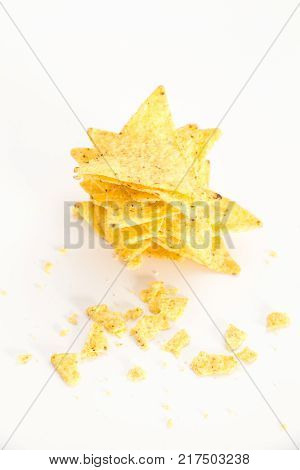 Crispy Thinly Sliced Potato Chips In White Bowl, On White Background.