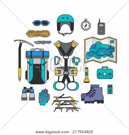 Icon set lineart design of modern of climbing and equipment for hiking isolated. Outfit for mountaineering and items for traveling and recreation. For web sites, applications and printing, vector