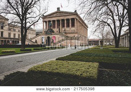 BERLIN GERMANY - DECEMBER 062017: Exterior view of Alte Nationalgalerie (Old National Gallery) on the Museumsinsel in Berlin-Mitte.